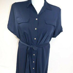 Chico's Womens Navy Blue Button Down Long Dress Si